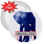 Blue Elephant  Protected  3  Button (10 pack)