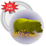 Hippo Sparkle 3  Button (100 pack)