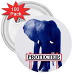 Blue Elephant  Protected  3  Button (100 pack)