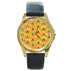 Funny Halloween   Bat Pattern 1 Round Gold Metal Watch by MoreColorsinLife