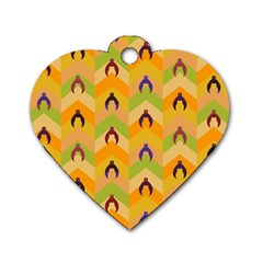 Funny Halloween   Bat Pattern 1 Dog Tag Heart (two Sides) by MoreColorsinLife
