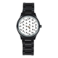 Funny Halloween   Bat Pattern 2 Stainless Steel Round Watch by MoreColorsinLife