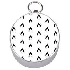 Funny Halloween   Bat Pattern 2 Silver Compasses by MoreColorsinLife