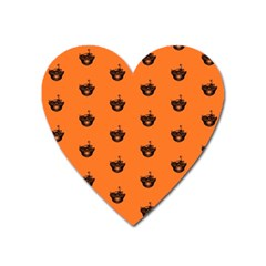 Funny Halloween   Burned Skull Pattern Heart Magnet by MoreColorsinLife