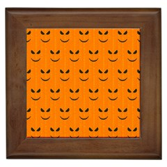 Funny Halloween   Face Pattern Framed Tiles by MoreColorsinLife
