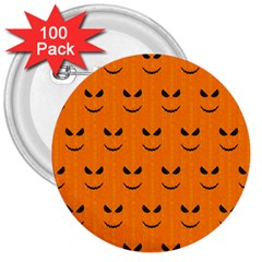 Funny Halloween   Face Pattern 3  Buttons (100 Pack)  by MoreColorsinLife