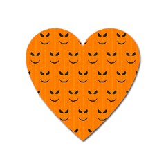 Funny Halloween   Face Pattern Heart Magnet by MoreColorsinLife