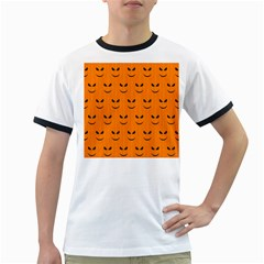Funny Halloween   Face Pattern Ringer T Shirts by MoreColorsinLife