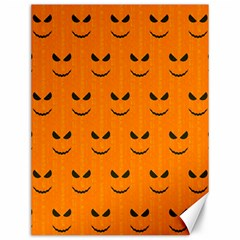 Funny Halloween   Face Pattern Canvas 12  X 16   by MoreColorsinLife