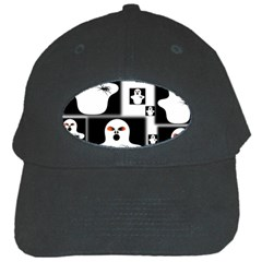 Funny Halloween   Ghost Pattern 2 Black Cap by MoreColorsinLife