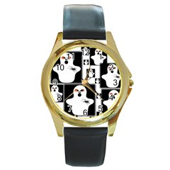 Funny Halloween   Ghost Pattern 2 Round Gold Metal Watch by MoreColorsinLife