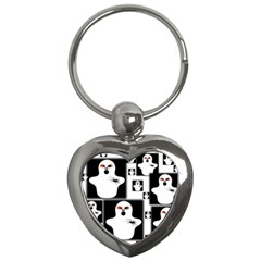 Funny Halloween   Ghost Pattern 2 Key Chains (heart)  by MoreColorsinLife
