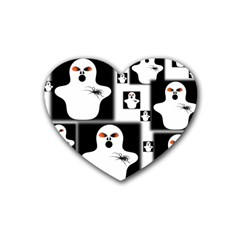 Funny Halloween   Ghost Pattern 2 Rubber Coaster (heart)  by MoreColorsinLife