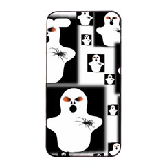 Funny Halloween   Ghost Pattern 2 Apple Iphone 4/4s Seamless Case (black) by MoreColorsinLife