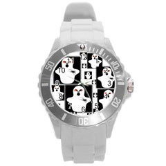 Funny Halloween   Ghost Pattern 2 Round Plastic Sport Watch (l) by MoreColorsinLife