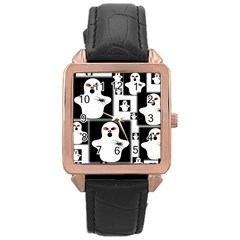 Funny Halloween   Ghost Pattern 2 Rose Gold Leather Watch  by MoreColorsinLife