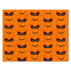 Funny Halloween   Face Pattern 2 Rectangular Jigsaw Puzzl by MoreColorsinLife