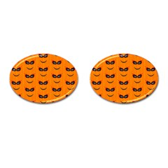 Funny Halloween   Face Pattern 2 Cufflinks (oval) by MoreColorsinLife