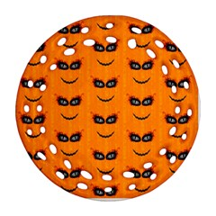 Funny Halloween   Face Pattern 2 Ornament (round Filigree) by MoreColorsinLife