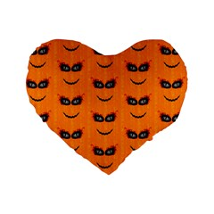 Funny Halloween   Face Pattern 2 Standard 16  Premium Heart Shape Cushions by MoreColorsinLife