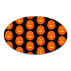 Funny Halloween   Pumpkin Pattern 2 Oval Magnet by MoreColorsinLife