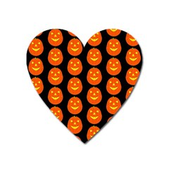 Funny Halloween   Pumpkin Pattern 2 Heart Magnet by MoreColorsinLife