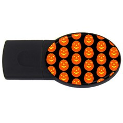 Funny Halloween   Pumpkin Pattern 2 Usb Flash Drive Oval (4 Gb) by MoreColorsinLife