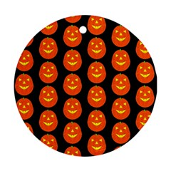Funny Halloween   Pumpkin Pattern 2 Round Ornament (two Sides) by MoreColorsinLife