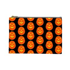 Funny Halloween   Pumpkin Pattern 2 Cosmetic Bag (large)  by MoreColorsinLife