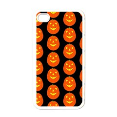 Funny Halloween   Pumpkin Pattern 2 Apple Iphone 4 Case (white) by MoreColorsinLife