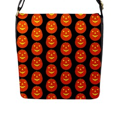 Funny Halloween   Pumpkin Pattern 2 Flap Messenger Bag (l)  by MoreColorsinLife