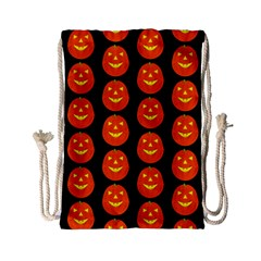 Funny Halloween   Pumpkin Pattern 2 Drawstring Bag (small) by MoreColorsinLife