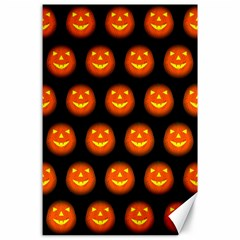 Funny Halloween   Pumpkin Pattern Canvas 24  X 36  by MoreColorsinLife