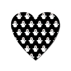 Funny Halloween   Ghost Pattern Heart Magnet by MoreColorsinLife