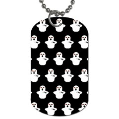 Funny Halloween   Ghost Pattern Dog Tag (two Sides) by MoreColorsinLife