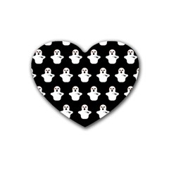 Funny Halloween   Ghost Pattern Rubber Coaster (heart)  by MoreColorsinLife