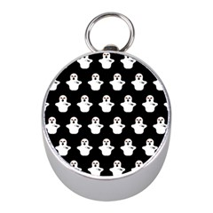 Funny Halloween   Ghost Pattern Mini Silver Compasses by MoreColorsinLife