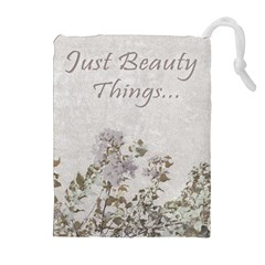 Shabby Chic Style Motivational Quote Drawstring Pouches (extra Large) by dflcprints