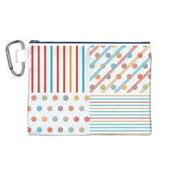 Simple Saturated Pattern Canvas Cosmetic Bag (l) by linceazul