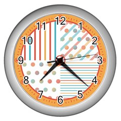 Simple Saturated Pattern Wall Clocks (silver)  by linceazul