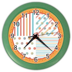 Simple Saturated Pattern Color Wall Clocks by linceazul