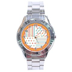 Simple Saturated Pattern Stainless Steel Analogue Watch by linceazul