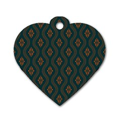 Ornamental Pattern Background Dog Tag Heart (one Side)
