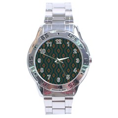Ornamental Pattern Background Stainless Steel Analogue Watch