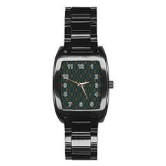 Ornamental Pattern Background Stainless Steel Barrel Watch