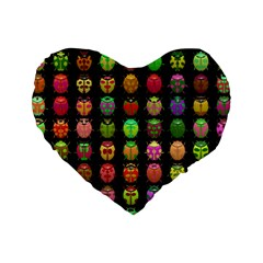 Beetles Insects Bugs Standard 16  Premium Flano Heart Shape Cushions by BangZart