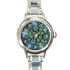 Blue Lotus Round Italian Charm Watch by BangZart