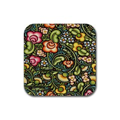 Bohemia Floral Pattern Rubber Square Coaster (4 Pack)  by BangZart