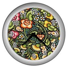 Bohemia Floral Pattern Wall Clocks (silver)