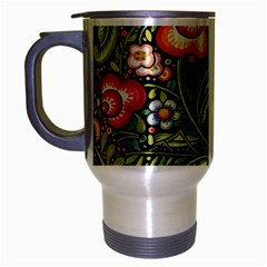 Bohemia Floral Pattern Travel Mug (silver Gray) by BangZart